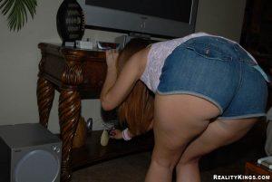 bending down